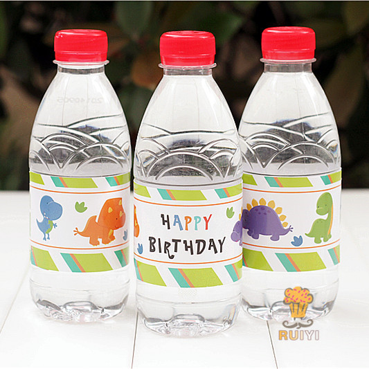 24pcs Baby Dinosaur Happy Birthday Water Bottle Label
