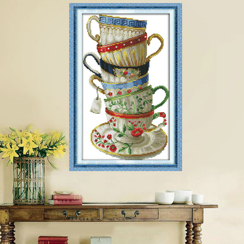 Elegant coffee cupcounted print on canvas DMC 14CT 11CT Cross Stitch - Arts, Crafts and Sewing