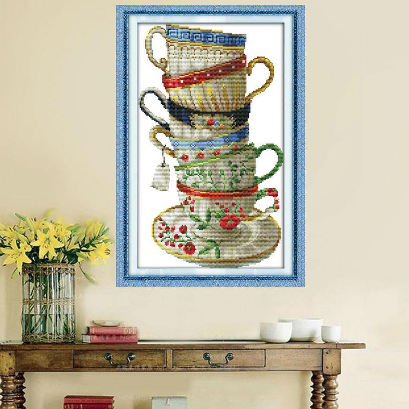 Zarif kahve cupcounted tuval üzerine baskı DMC 14CT 11CT Çapraz - Sanat, el sanatları ve dikiş