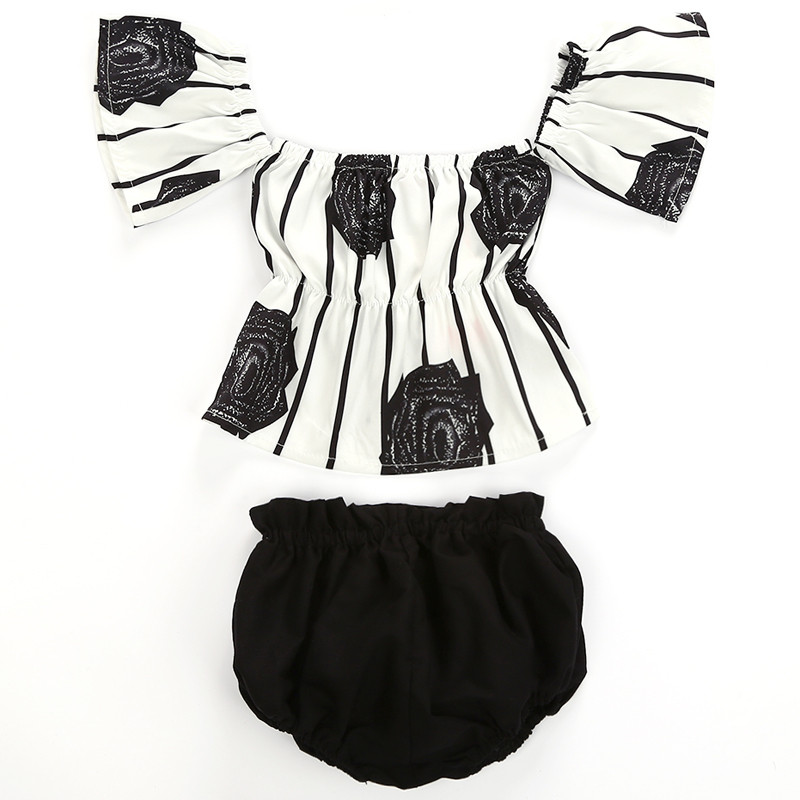 Newborn Baby Girls Clothes Set Off Shoulder Blouse Flower Striped Tops Shorts Girl Clothing Cute Girl Clothing Outfits 2PCs 2pcs set newborn floral baby girl clothes 2017 summer sleeveless cotton ruffles romper baby bodysuit headband outfits sunsuit