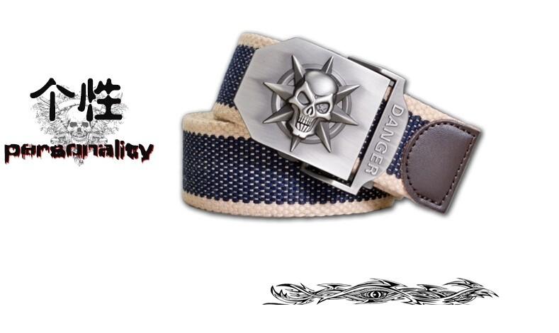 Fashion men's Canvas belt skull Metal tactics woven belt canvas belt Casual pants Cool wild gift for men belts Skull large size 19