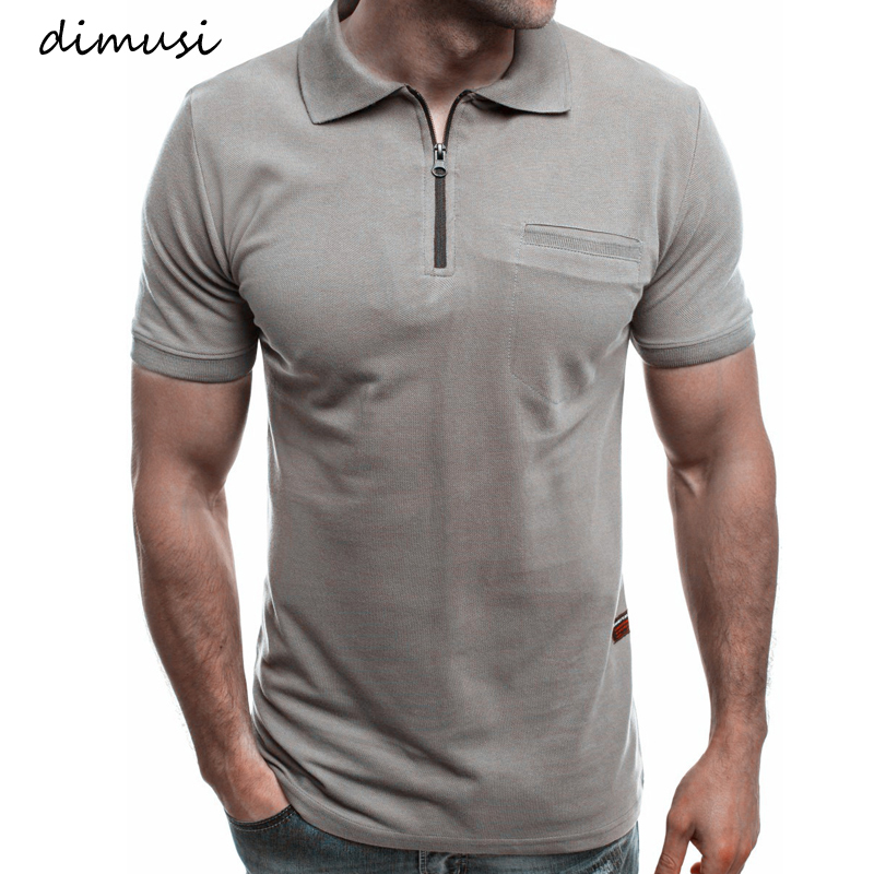 DIMUSI Men Polo Shirts Summer Men Casual Short Sleeve Polos Shirts Fashion Mens Slim Zipper Tops Tees Para Hombre Brand Clothing