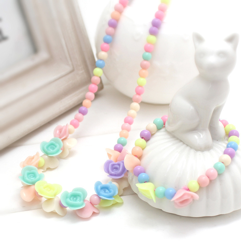 1 Set Cute Girl's Gifts Children Princess Accessories Sets Mix Macaron Color Acrylic Beads Flower Necklace And Bracelet