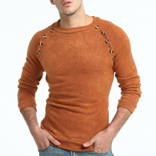 Sweater Spring Men's Fashion Button Decoration Round Neck Knit Sweater Men's Slim Casual Long Sleeve Solid Color Base Sweater round neck knit blends ombre long sleeve sweater