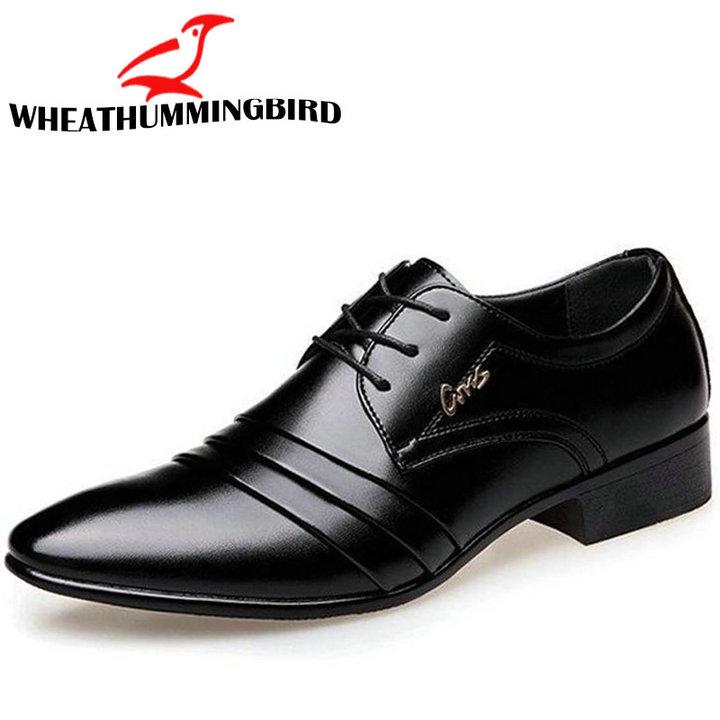 2019 Mode Herren Leder Schuhe Hochzeit Business Kleid Nachtclubs Oxfords Atmungs Arbeits Lace Up Schuhe Ra-61