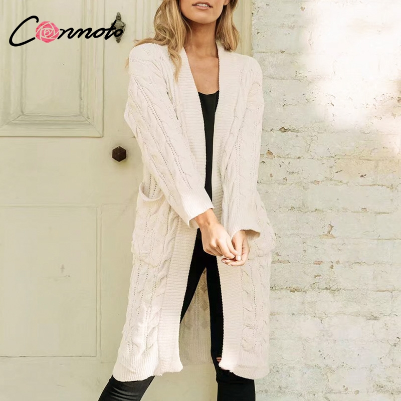 Conmoto Casual Pink Chenille Long Cardigans Women 2018 Autumn Winter  Fashion Pockets Cardigan Sweater Women White Wool Cardigan-in Cardigans  from Women s ... 25fa004f7