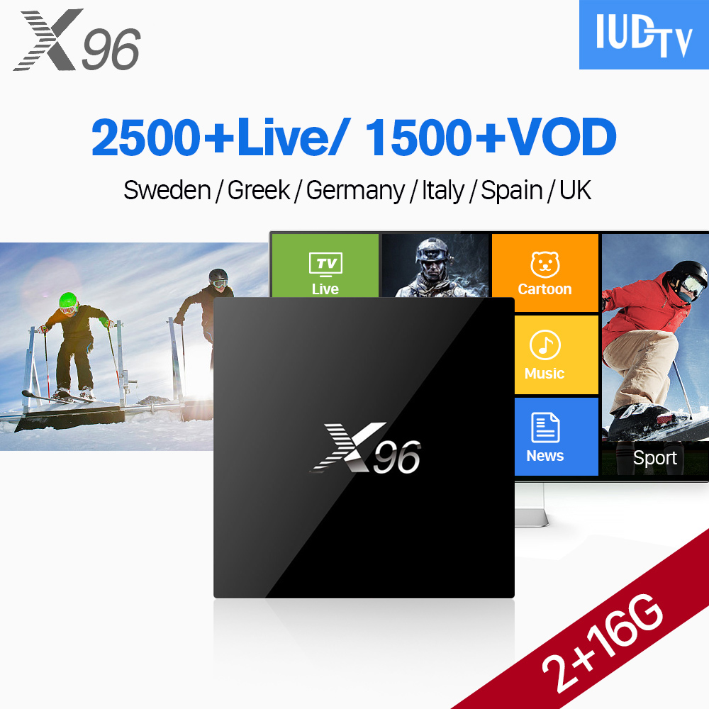 IPTV 1 Year IUDTV Code X96 Android 6.0 Smart TV Box 2GB 16GB S905X Europe Italy Belgium IPTV Swedish Arabic IPTV Set Top Box belgium culture smart
