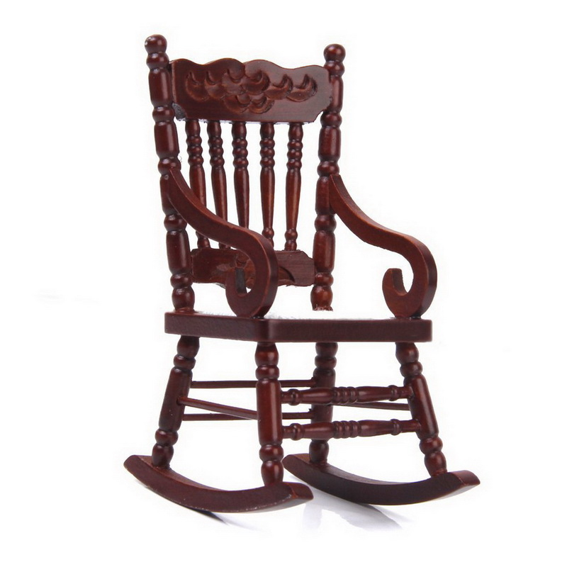 new brand 112 dollhouse miniature wooden model rocking chair model brownchina