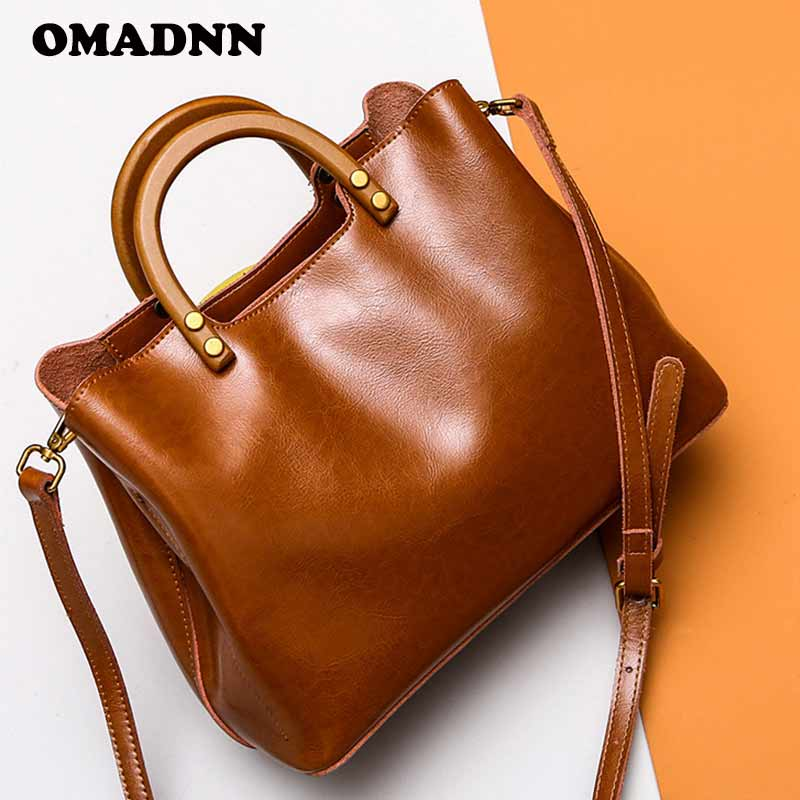 OMADNN Fashion Women Leather Handbag Simple Shoulder Bags Large Capacity Female Zipper Soft Tote Pack A Main Femme Shoulder Bags 6 pack bags camille tote 4