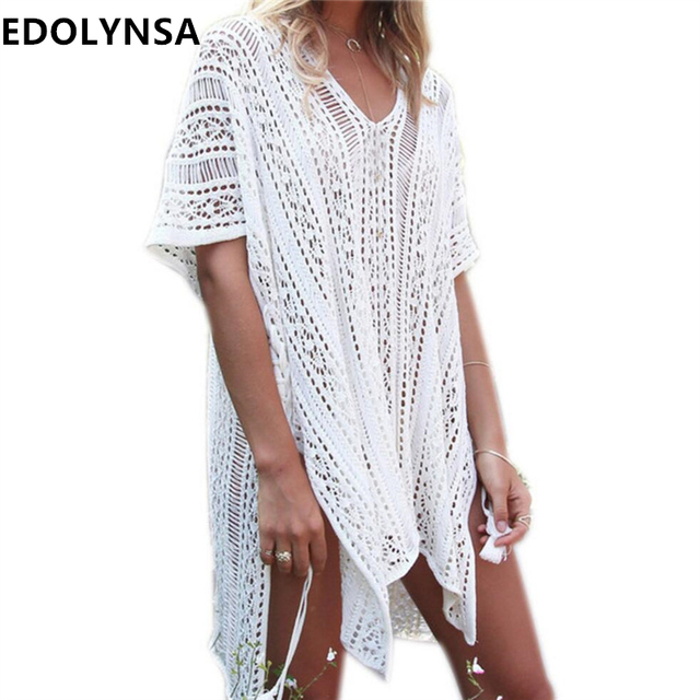 b2c66716079 Summer Crochet Casual Beach Sarongs Sexy Hollow Out White Beach Dress Plus  Size Women Short Dress V-neck Tassels Beachwear  U206