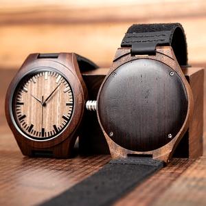 Image 5 - Marca superior bobo pássaro relógio de luxo masculino masculino relógios de madeira preta quartzo relógio de pulso banda couro macio oem C F08