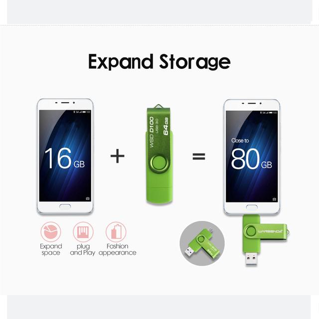 New Usb 3.0 Wansenda OTG USB flash drive for SmartPhone/Tablet/PC 8GB 16GB 32GB 64GB 128GB Pendrive High speed pen drive package