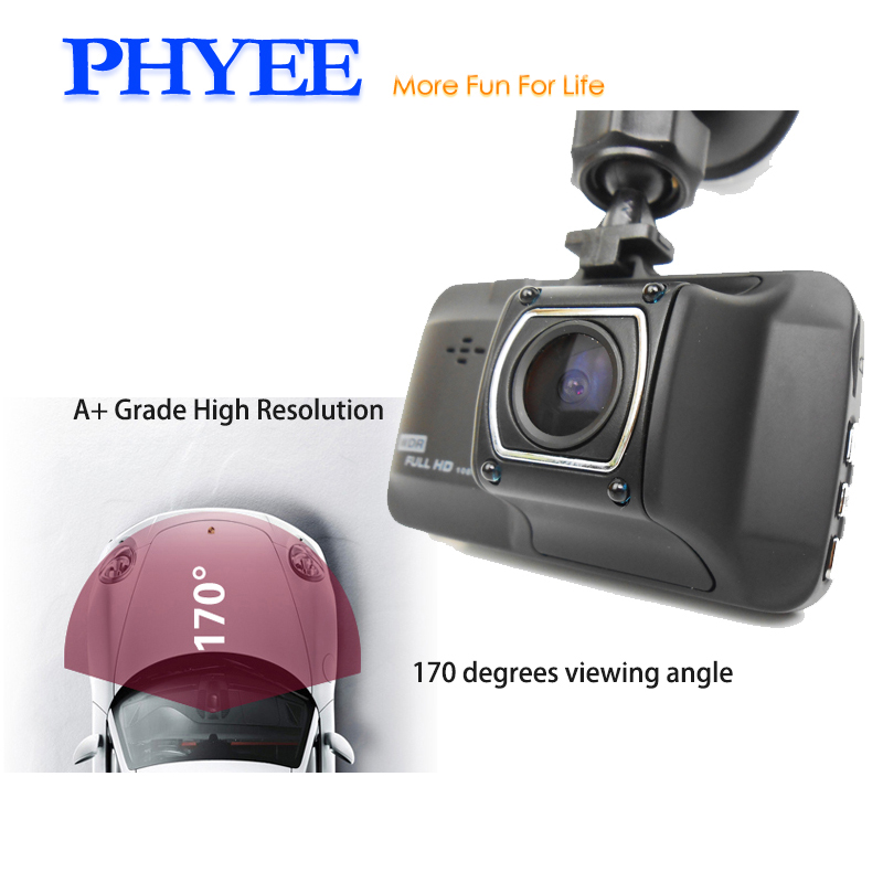 PHYEE T176 Dash Cam Car Video Recorder 170 Degrees Viewing Angle 3 Inch 1080P Full HD DVR Night Version WDR 32GB