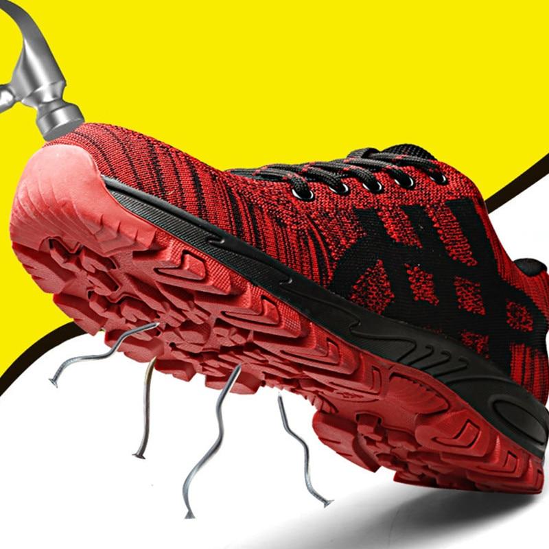 Высококачественная защитная обувь со стальным носком; Мужская Рабочая обувь; унисекс; дышащая рабочая обувь из сетчатого материала; большие размеры 37-46; резиновая обувь - Цвет: red