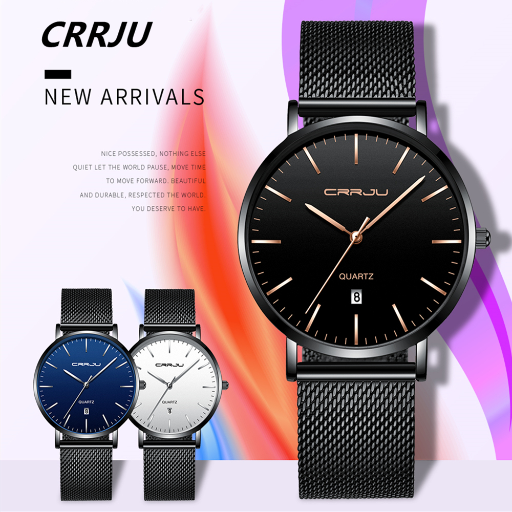 CRRJU 2019 New Simple Design Waterproof Stainless Steel Mesh Men Watches Top Brand Luxury Quartz Watch relogio masculino