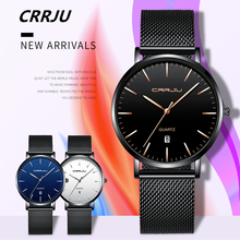 CRRJU 2019, nuevo diseño Simple, relojes de malla de acero inoxidable resistentes al agua para hombres, marca superior de lujo de reloj de cuarzo, reloj masculino para hombres