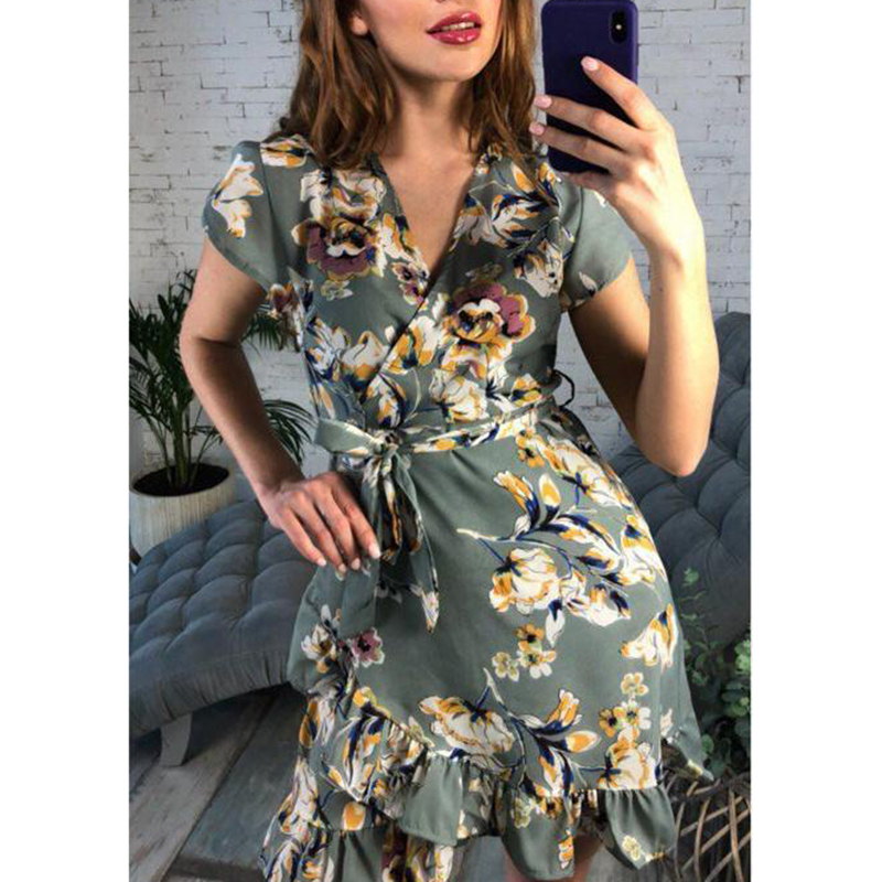 Vintage Women Short Dress 2018 Floral Printed Ruffle Dress Boho Style Short Sleeve V Neck Bandage Vestidos WS8129T