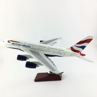 FREE SHIPPING 45 47CM BRITISH AIRWAY A380 METAL BASE AND RESIN MODEL PLANE AIRCRAFT MODEL TOY