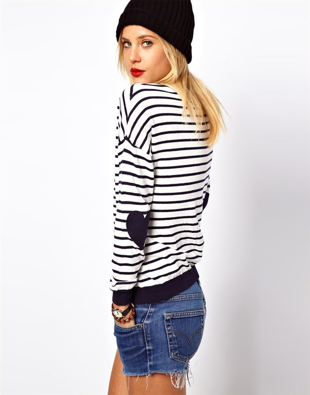 Women's Red blue Striped Jumper With Heart Elbow Patch Women Long ...
