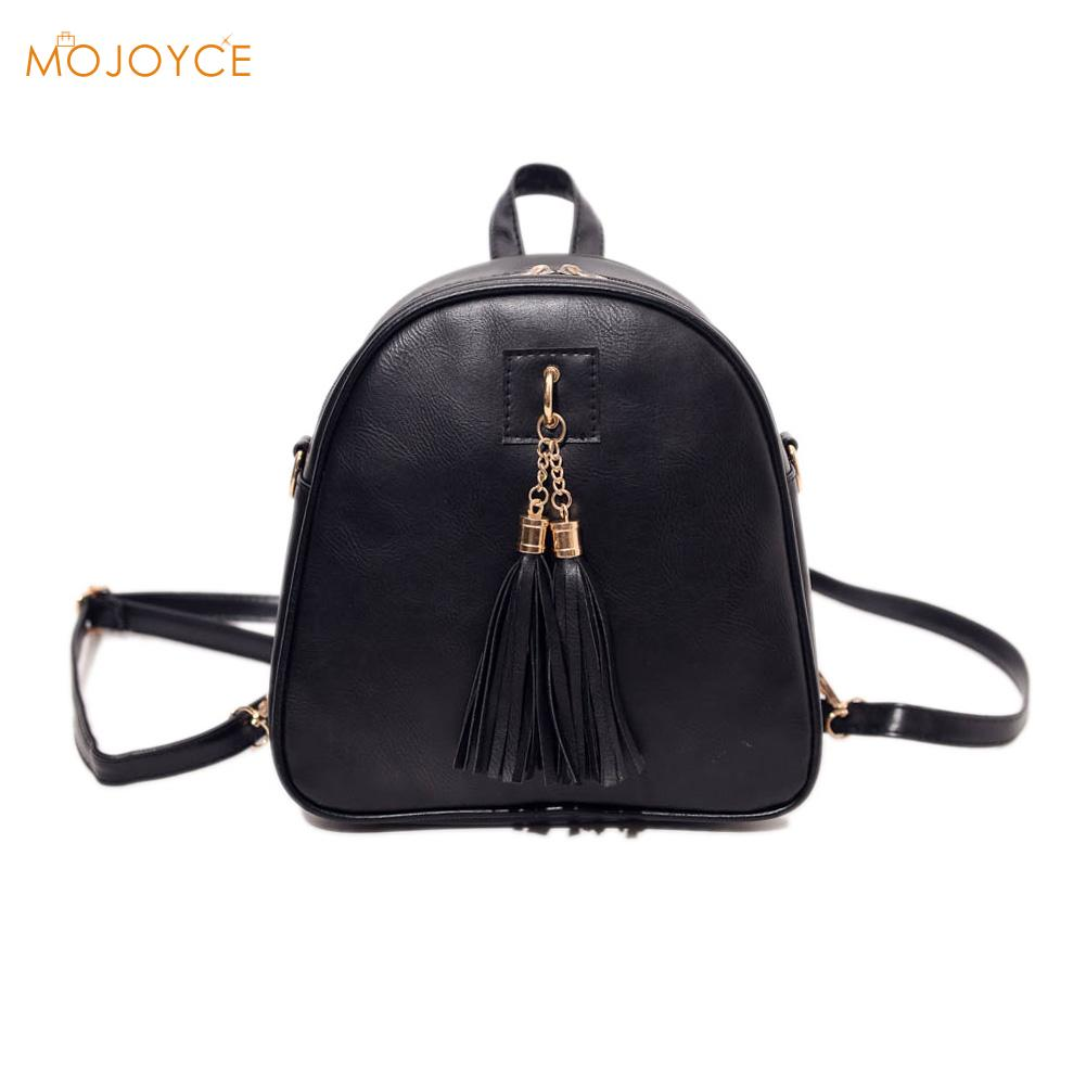 Fashion Women PU Leather Backpack Mini Tassel Backpack Shoulder Bag School Bags  for Teenage Girls Rucksack Mochila Escolar 2016new rucksack luxury backpack youth school bags for girls genuine leather black shoulder backpacks women bag mochila feminina