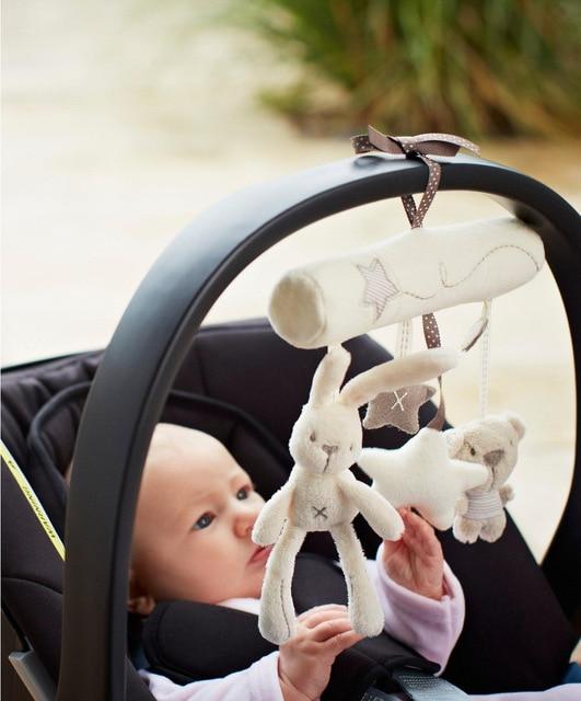 Kids Love Classic White Kawaii Rabbit Superfine plush toy Hand Bell Stroller Music Multifunctional Bed Hanging 1 PCS