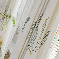 Korean Pastoral Embroidery Curtain Fabric Wholesale Manufacturers Direct Sales Bedroom Living Room Balcony Trim Whole Volume