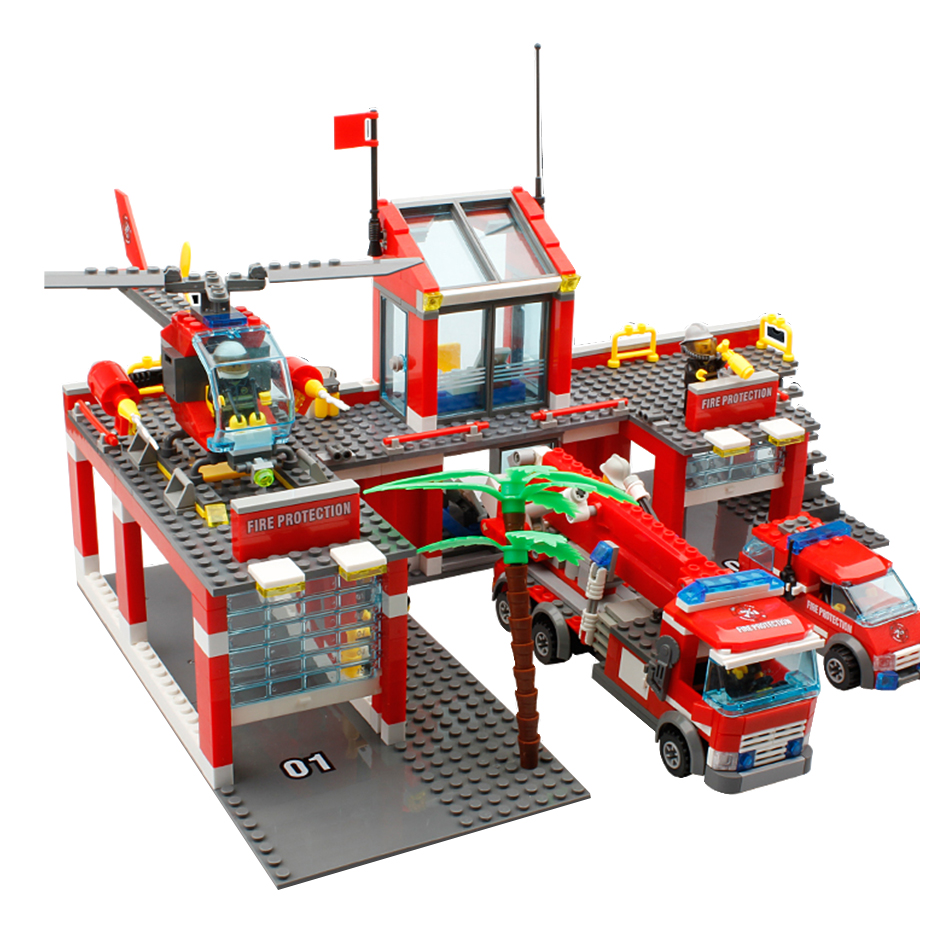 цена на 774pcs Fire Station Building Blocks set Compatible legoed city Construction Firefighter Bricks Kids enlighten Toys For Children