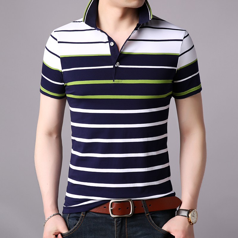 2019 New Fashion Brand Summer   Polo   Shirt Men Striped Boys Slim Fit Short Sleeve Top Grade Cotton Poloshirt Casual Men Clothing