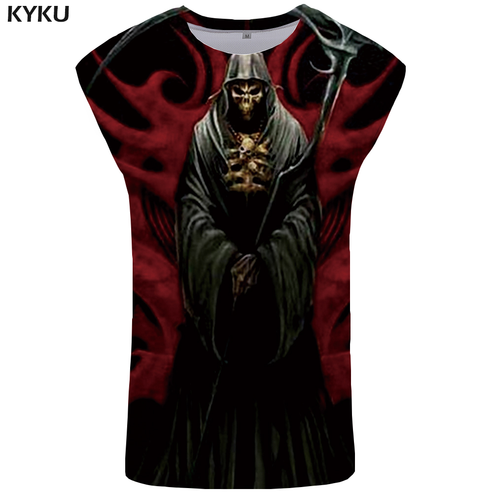 KYKU Skull   Tank     Top   Men Black Ftness Clothing Devil Tanktop 3D Mens Bodybuilding Undershirt Vest Sleeveless Shirt Man Anime