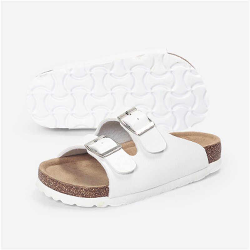 Chinelos meninas Meninos Dupla fivela 2019 Verão Novas Crianças Cortiça Chinelos Legais Meninos Moda casual Não-deslizamento sapatos de praia preto