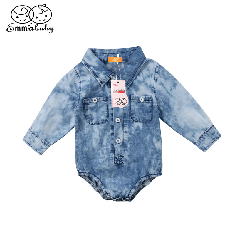 Baby Boys Girl Denim Romper Newborn Infant Baby Boy Girl Jean Long Sleeve Romper 2018 Newest Bebes Jumpsuit Spring Baby Clothing retail children s clothing set bebes baby clothes baby boy cotton striped romper jean pants 2pcs suit infant denim clothing