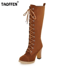 TAOFFEN Women Shoes Women Boots Knee High Boots Lace Up High Heeled Squared Heels Autumn Winter Boots Fashin Shoes Size 33-43