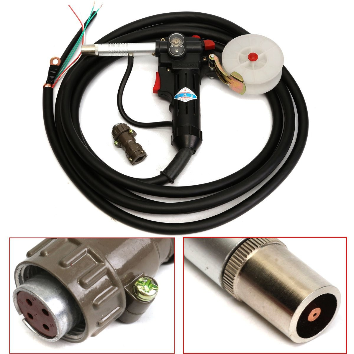 High Quality MIG Spool-Gun NBC-200A Gas Shielded Welding-Gun with 5M Lead Push Pull Feeder Aluminum Torch цена