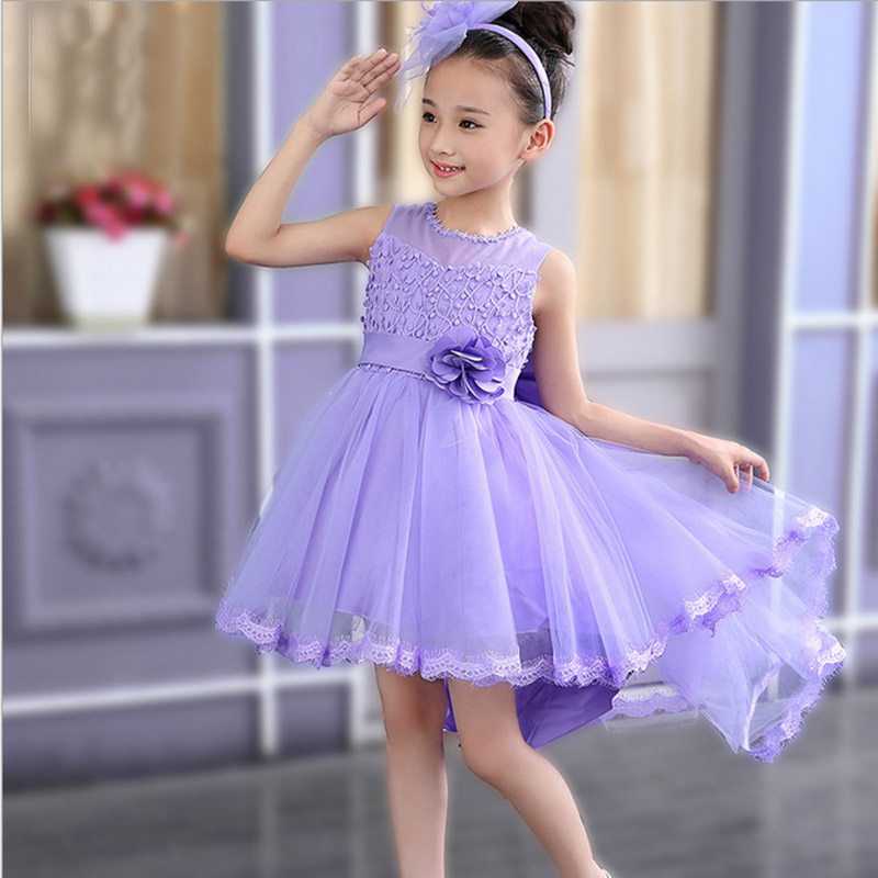 2017 new Girls party baby children summer sleeveless lace princess wedding dress 2 4 6 8 10 year old Fashion Flower Girls Dress