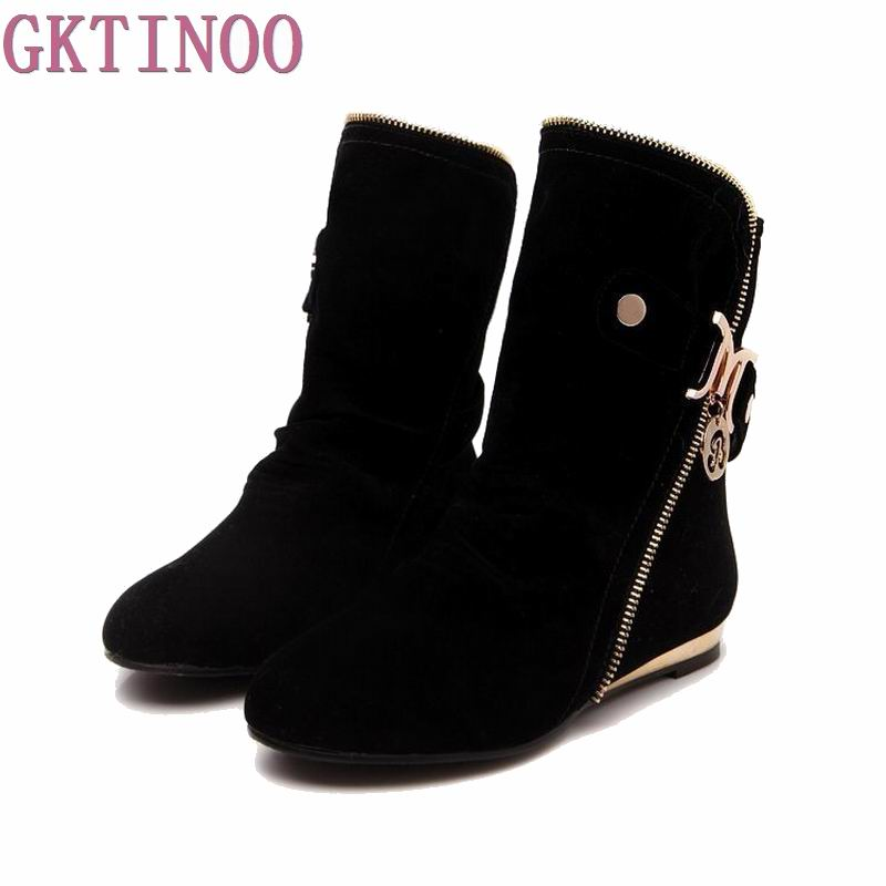 Size 32-43 Russia Winter Warm Buckle Zipper Flock Sequined Women Flat Mid-Calf Snow Boots Cotton Winter Footwear Boot Shoes double buckle cross straps mid calf boots