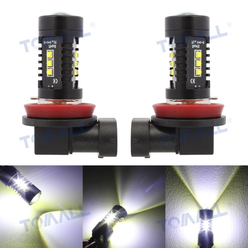 2pcs H11 60W with CREE XBD Chip Car Front Fog Light 360 Degree Bright,H8 LED DRL Daytime ...