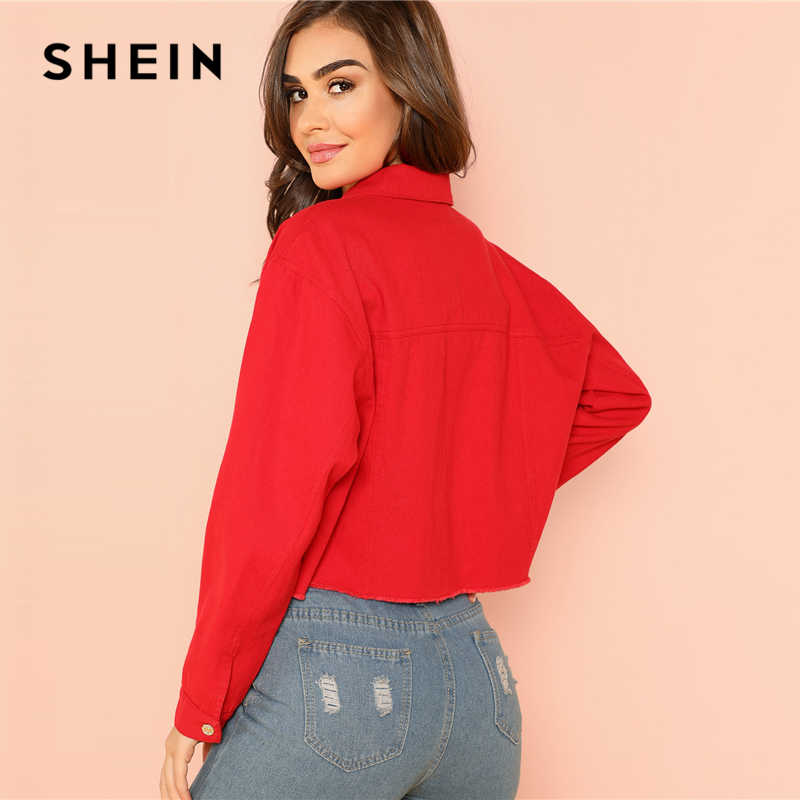 fea00245a8 ... SHEIN Red Solid Pocket Front Button Up Jacket Cotton Casual Plain Long  Sleeve Single Button Coat ...