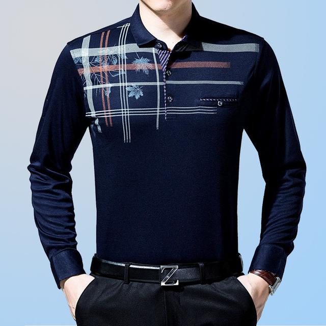 2016 Nueva Otoño polo hombres camisa busines Cómoda camisa de Polo Clásico de Manga Larga camisa Polo homme camisas de polo a rayas