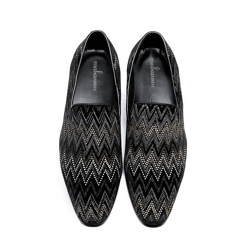 Cuir Hommes Mabaiwan Pantoufle Partie Noir Mocassins Glissent bleu Appartements Robe Mariage Causalité Main En 2018 Mode La Chaussures Noir Sur De F8rBZcT8