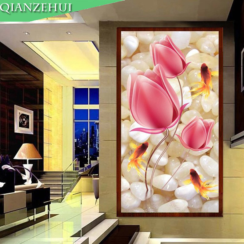 QIANZEHUI,Needlework,DIY 5D Nine Fishes Cross Stitch  ,Tulip Flower Sets For Embroidery Kits Cross-Stitching,Wall Home Decro