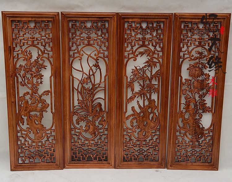 Dongyang wood carving four screen camphorwood pendant antique wood partition porch meilanzhuju wall hanging pendant dongyang woodcarving camphor wood furniture wood carved camphorwood box suitcase box antique calligraphy collection box insect d