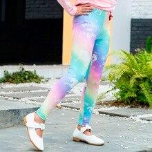 Rainbow Unicorn Mid Elastic Waist Pencil Pants Girl Leggings Yoga Children Trousers for Baby Childrens Clothing