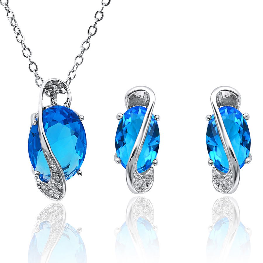 Fashion Crystal 925 Silver Jewlery Set 2016 Necklaces & Earrings Pendants Rings for Women Wedding Bridal 1