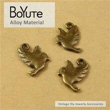 BoYuTe (100 Peças/lote) 13*14 MM Estilo Vintage Bronze Antigo Chapeado Encantos Pingente de Pássaro Acessórios Jóias Diy peças de Materiais