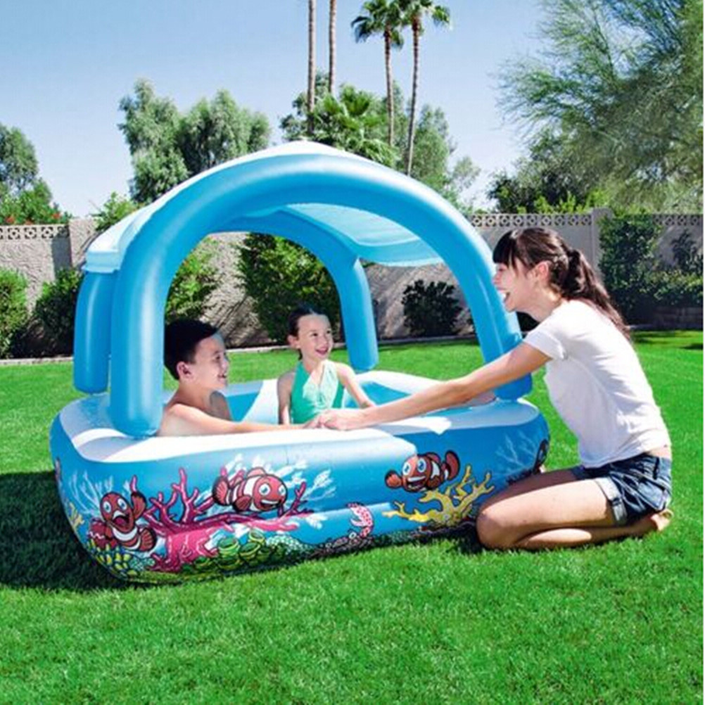 Kids Children Sunshade Inflatable Swimming Pool Thickening Novelty Pool (Blue) commercial sea inflatable blue water slide with pool and arch for kids