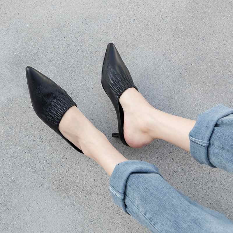 Krazing pot 2019 full grain leather pleated pointed toe wedding dress European stiletto med heels mules women fashion pumps L18-in Women's Pumps from Shoes    3