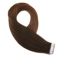 Moresoo Hair Extensions Tape in Human Hair Real Remy Brazilian Hair Ombre Color #4 Brown Fading to #30 Skin Weft Extensions
