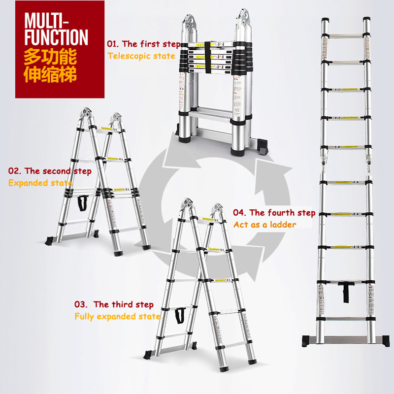 Industrial Telescopic Ladder 2.5m + 2.5m Aluminum Telescopic Ladder With Joint