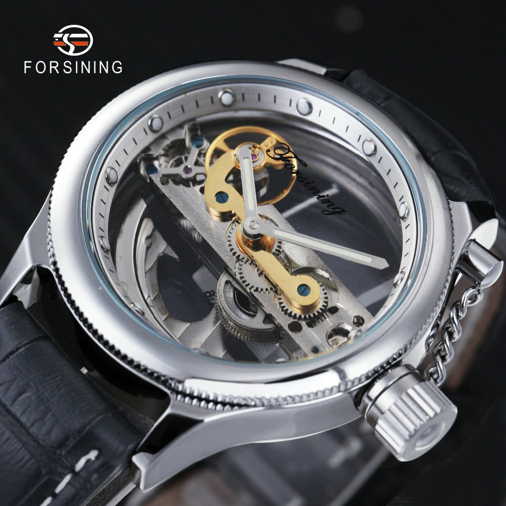 FORSINING Fashion Classic Men Golden Bridge Mechanical Watch Genuine Leather Strap Minimalist Wristwatch relogio masculino 2015 forsining relogio pmw342
