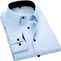 Mężczyźni Z Długim Rękawem Slim Fit Style Projektowania Jednolity Kolor Business Casual Dress Shirt Mężczyzna Społeczne Marka Mężczyźni Odzież 2017 nowy